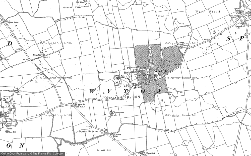 Old Map of Wyton, 1889 in 1889