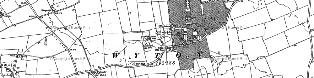 Old map of Wyton in 1889
