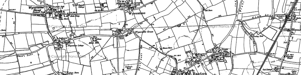 Old map of Wyverstone Street in 1884