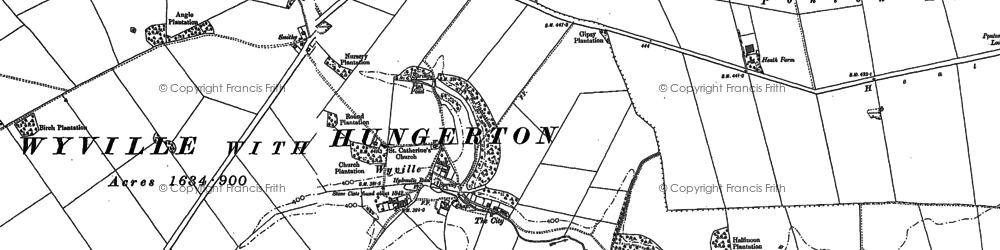 Old map of Wyville in 1887
