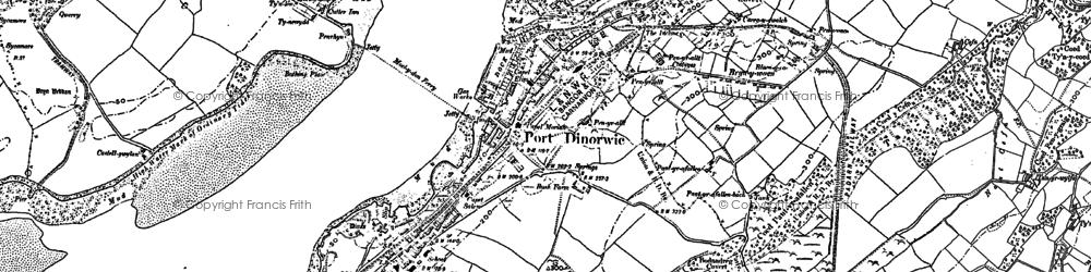 Old map of Y Felinheli in 1899