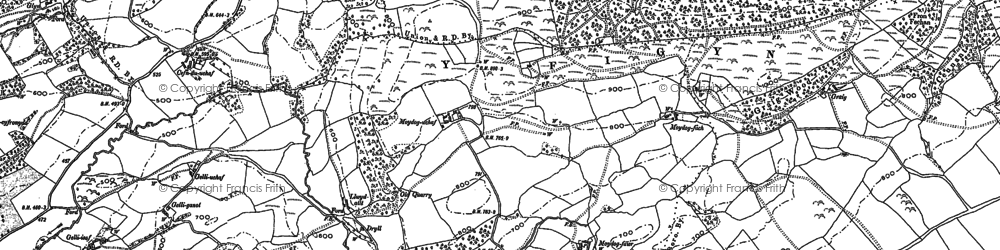 Old map of Y Figyn in 1884