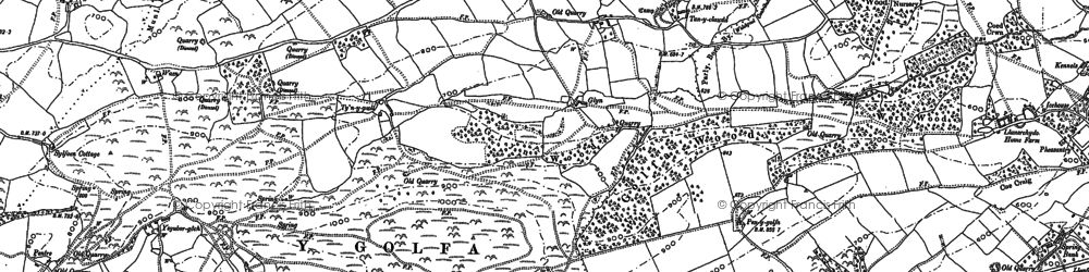 Old map of Y Golfa in 1884