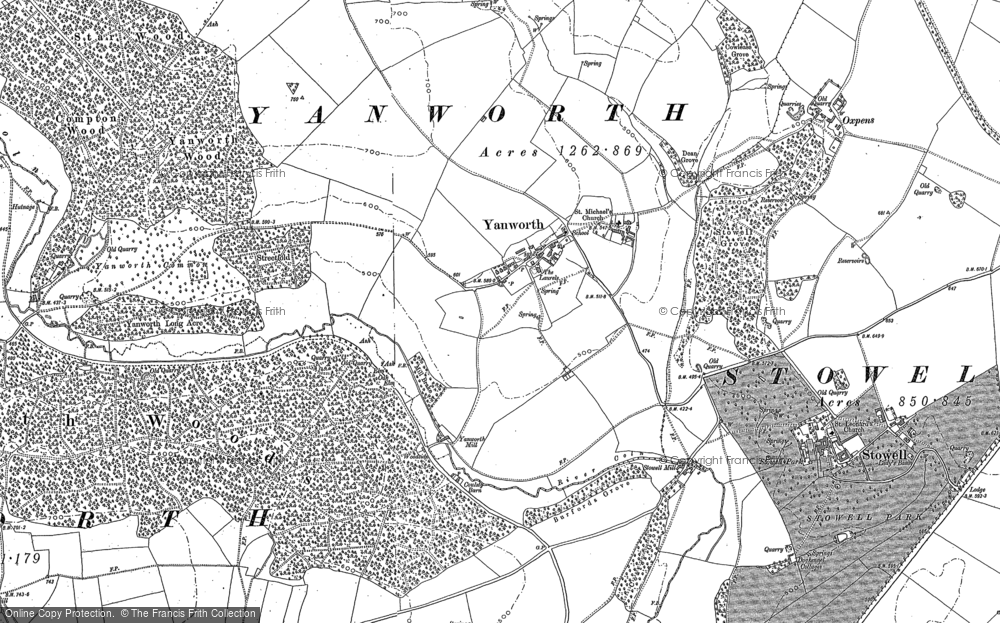 Old Map of Yanworth, 1882 - 1883 in 1882