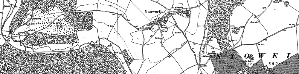 Old map of Yanworth in 1882
