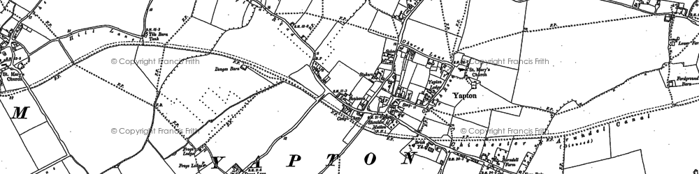 Old map of Yapton in 1896