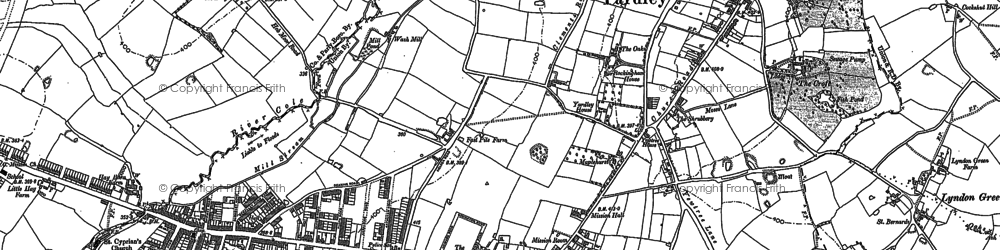 Old map of Yardley in 1886
