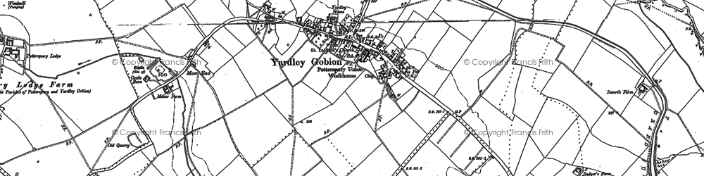 Old map of Yardley Gobion in 1898