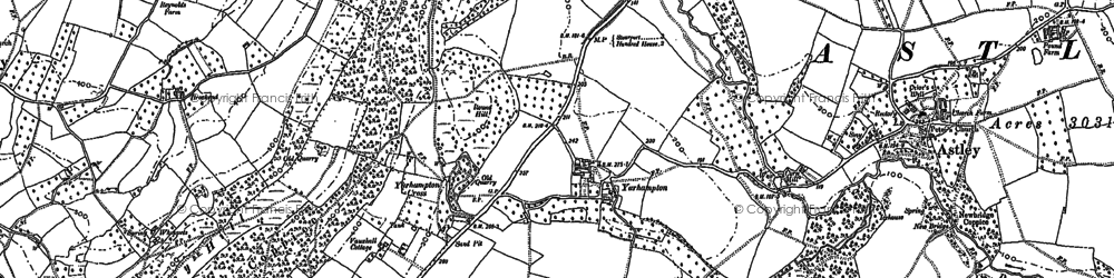 Old map of Abberley Hill in 1883