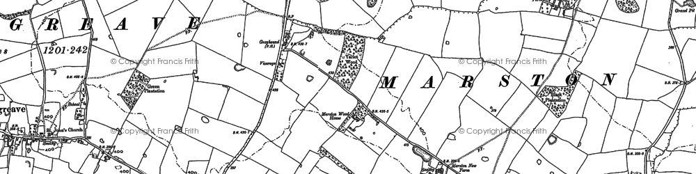 Old map of Yarlet Hall (School) in 1880