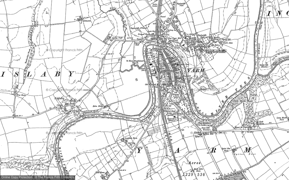 Old Map of Historic Map covering Aislaby in 1893