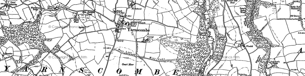 Old map of Yarnscombe in 1886