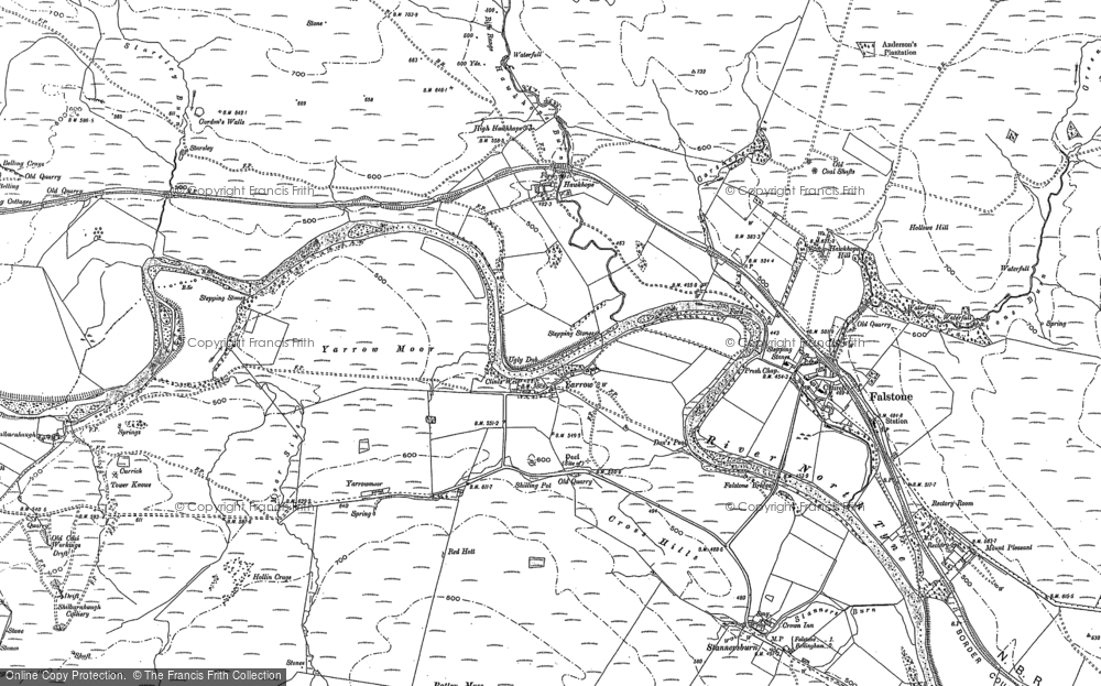 Old Map of Yarrow, 1896 in 1896