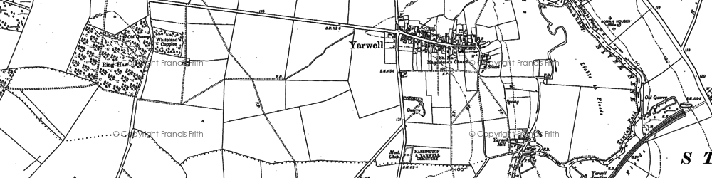 Old map of Yarwell Junction Sta in 1885