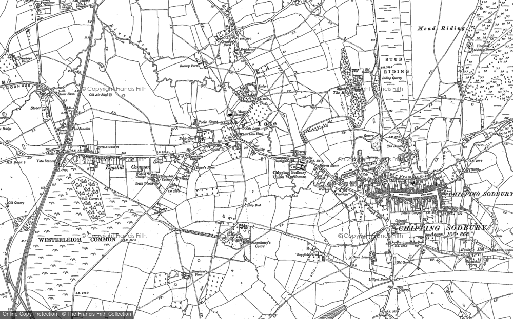 Old Map of Historic Map covering Westerleigh Common in 1881