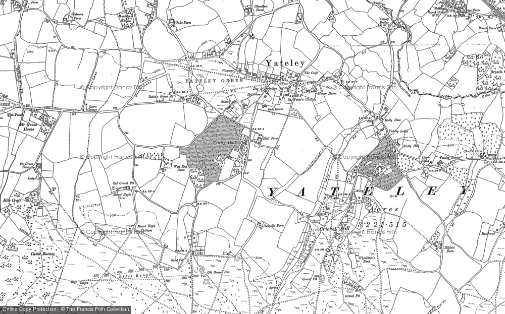 Map of Yateley, 1909 - 1912