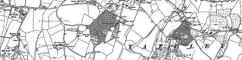 Old map of Yateley in 1909