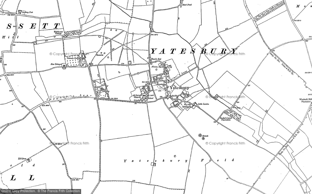 Old Map of Yatesbury, 1899 in 1899