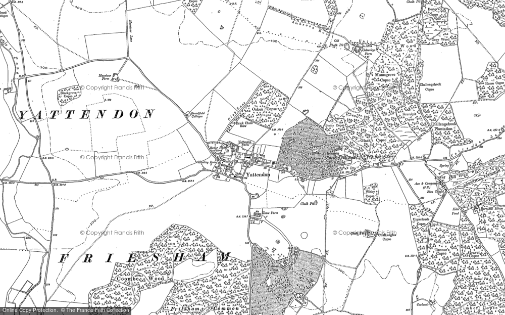 Old Map of Yattendon, 1898 - 1910 in 1898
