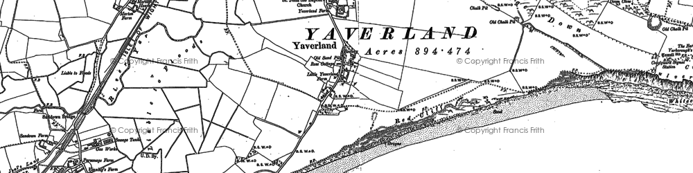 Old map of Yaverland in 1907
