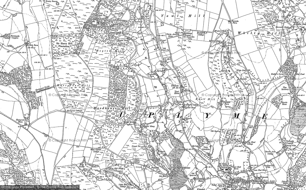 Old Map of Historic Map covering Woodhouse Hill in 1903