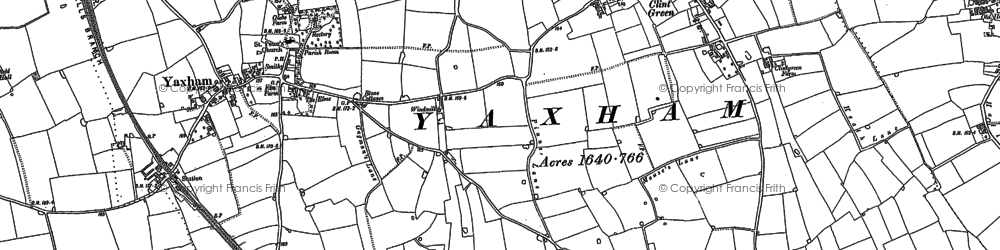 Old map of Yaxham in 1882