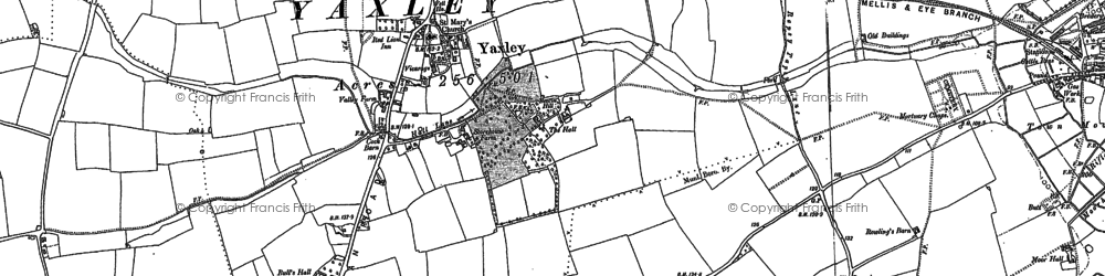 Old map of Yaxley in 1885