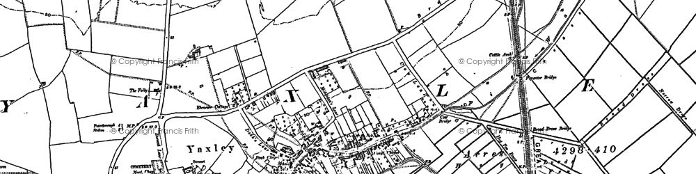 Old map of Yaxley in 1887