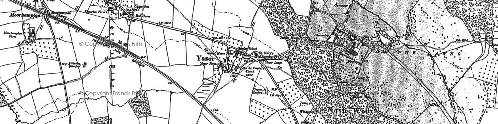 Old map of Yazor in 1886