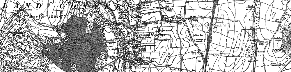 Old map of Yealand Conyers in 1911