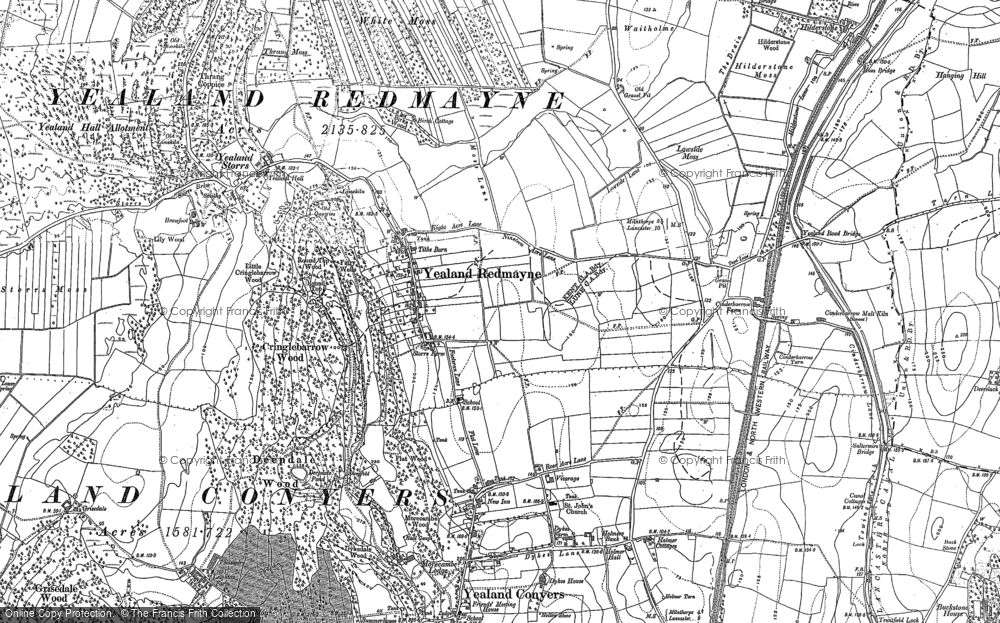 Old Map of Historic Map covering Yealand Storrs in 1911