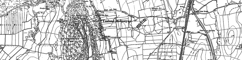 Old map of Yealand Storrs in 1911