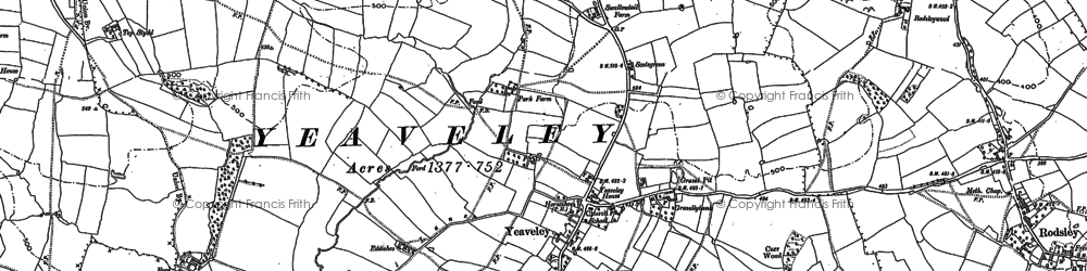 Old map of Yeaveley in 1880