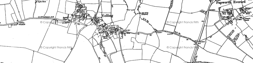 Old map of Yelling in 1887