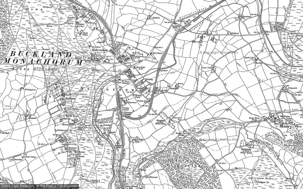 Old Map of Yelverton, 1883 in 1883