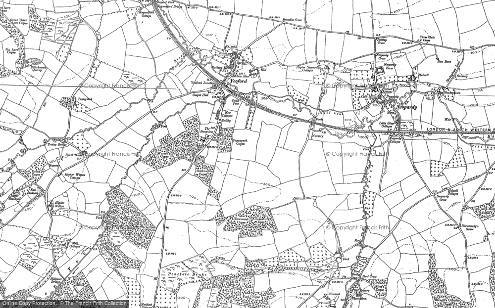 Old Map of Historic Map covering Woodland Head in 1886
