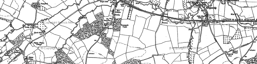 Old map of Yeoford in 1886