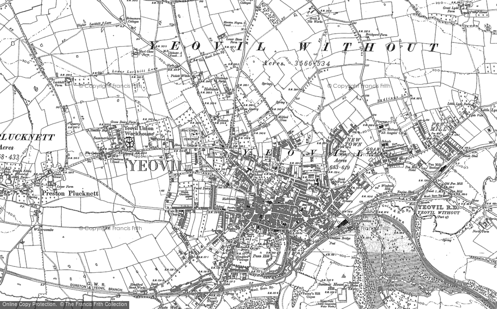 Old Map of Historic Map covering Aldon in 1886