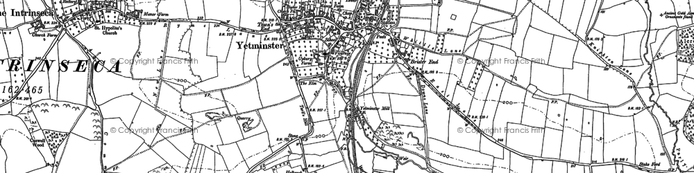 Old map of Yetminster in 1901
