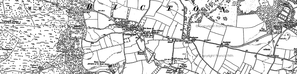 Old map of Yettington in 1888
