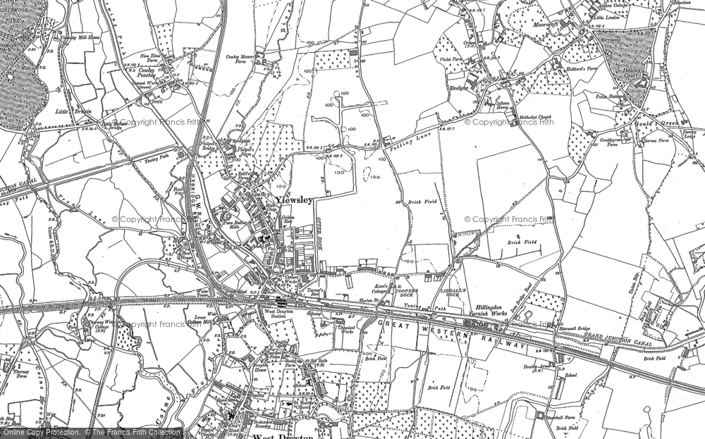 Old Map of Yiewsley, 1913 in 1913