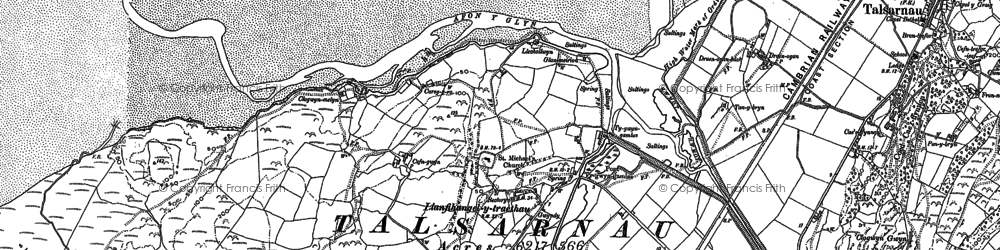 Old map of Afon y Glyn in 1887