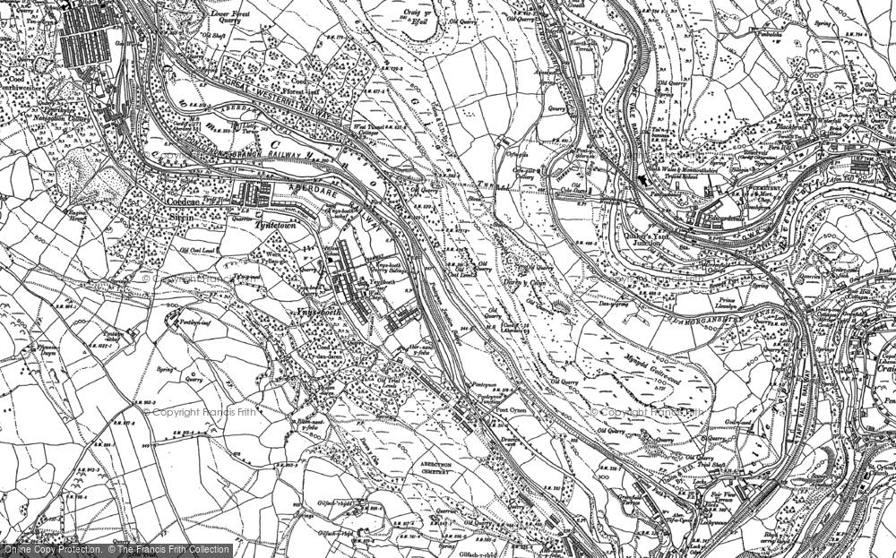 Old Map of Ynysboeth, 1898 in 1898