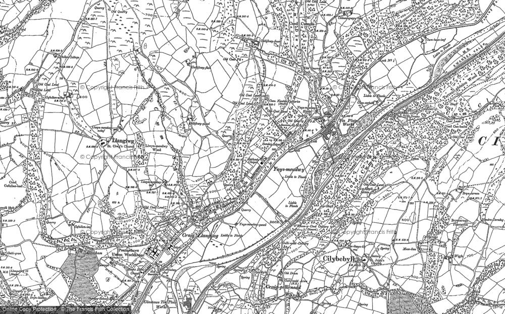 Map of Ynysmeudwy, 1897