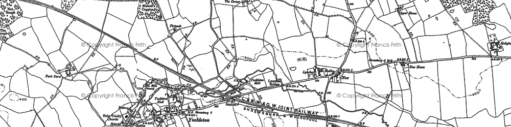 Old map of Yockleton in 1881