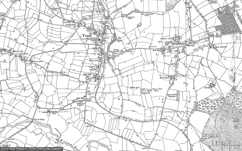 Old Map of Yoxall, 1882 in 1882