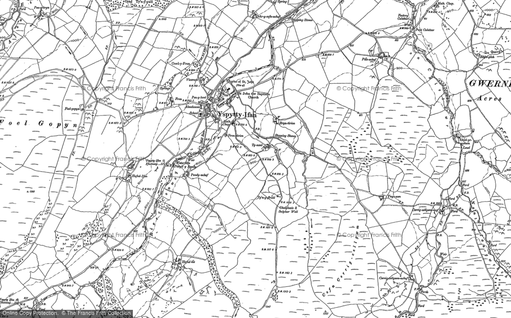 Old Map of Historic Map covering Afon Caletwr in 1910