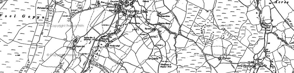 Old map of Afon Caletwr in 1910