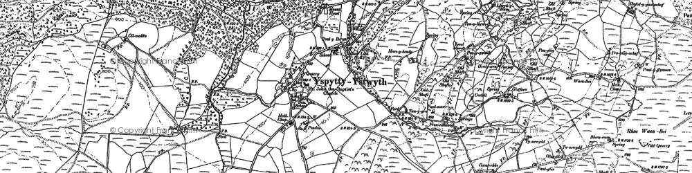 Old map of Ysbyty Ystwyth in 1886