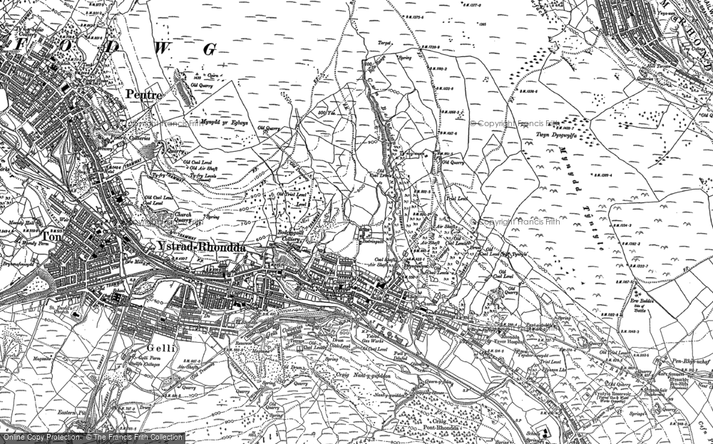 Old Map of Ystrad, 1898 in 1898